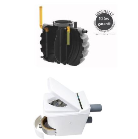 4evergreen BDT på burk + Cinderella Comfort Förbrännings toalett komplett avloppspaket